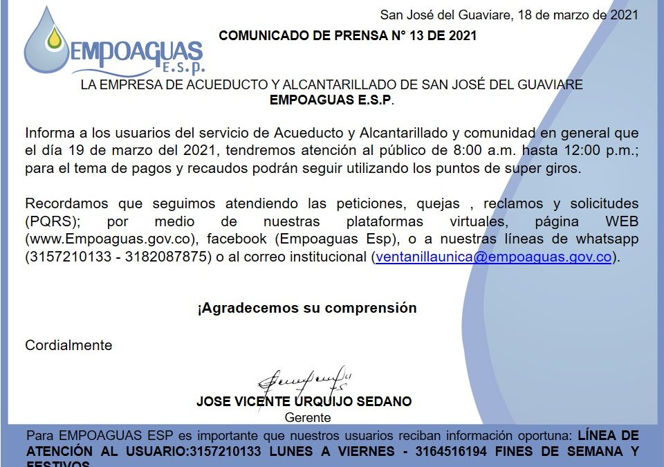 Comunicado de Prensa N° 13 de 2021